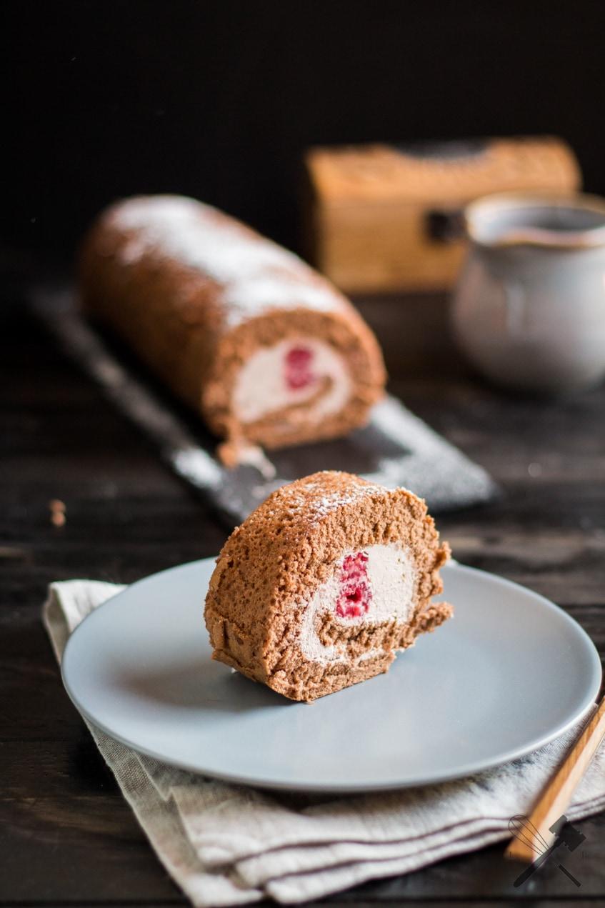 Schokoladen Himbeer Roulade